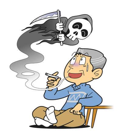 persona fumando: Cáncer de pulmón Foto de archivo