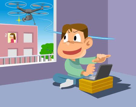 Enfant jouant avec un drone. Banque d'images - 78832404