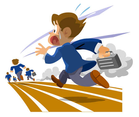 Please wait. Group of people running. Vector illustration. Illustration