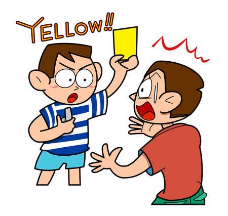 Soccer-yellow card, vector illustration.  イラスト・ベクター素材