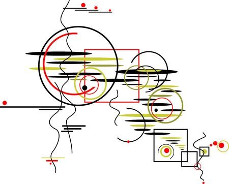 composizione astratta colorato di cerchi, quadrati e piatti ovali isolati su uno sfondo bianco