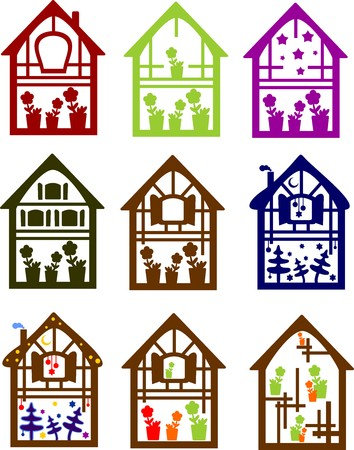 set of colored houses with interior design isolated on a white background Stock Vector - 6835370