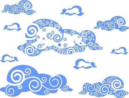 in clouds: nuvole galleggianti nel cielo isolato su sfondo bianco Vettoriali
