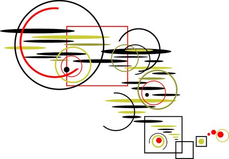 elongated: colorful abstract composition of circles, squares and flat ovals isolated on a white background