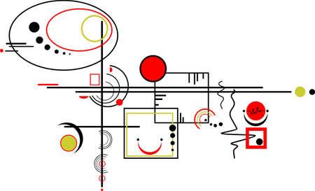 composition abstraite colorée des cercles et des lignes, des carrés, isolés sur un fond blanc