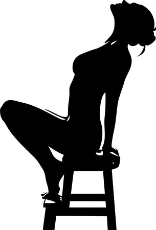thrown: silhouette of a girl sitting on a stool with his head thrown back isolated on white background