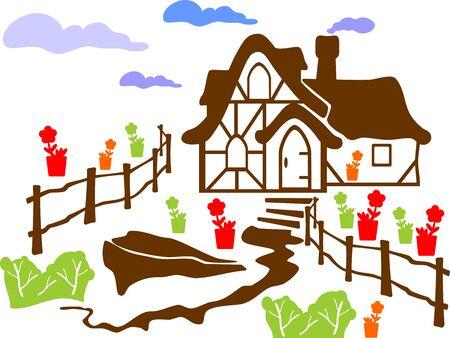 hillock: casa en la colina aislada sobre un fondo blanco Vectores