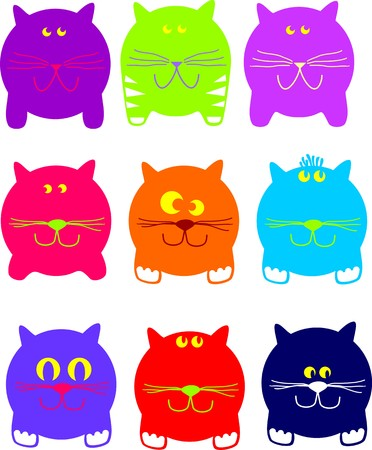 Colour round cats on a white background Stock Vector - 7105715