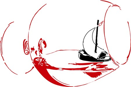 overturn: sailboat in a glass of red wine isolated on white background