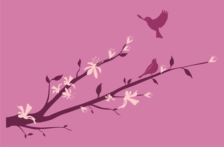 Blossoming branch of a cherry with a bird flying up to it Stock Vector - 7105756