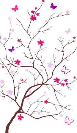 butterflies flying: Albero fiorisce con farfalle volare intorno esso su uno sfondo bianco