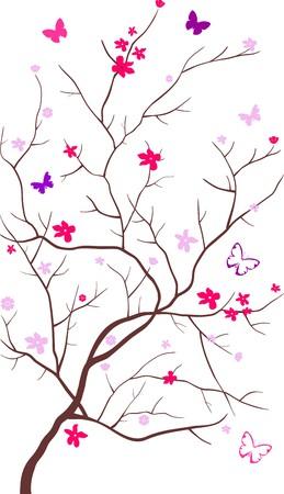 dessin papillon: Arbre florissant avec papillons volant tours il sur un fond blanc Illustration