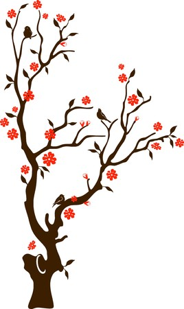 crone: Blossoming tree with a crone of the round form and birds on branches, on a white background