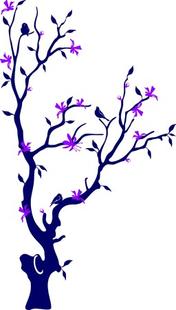 Blossoming tree with a crone of the round form and birds on branches, on a white background Stock Vector - 7105639