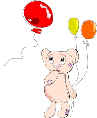 Bear with balloons in hand, looking bewildered eyes on the ball departing Stock Vector - 6998957