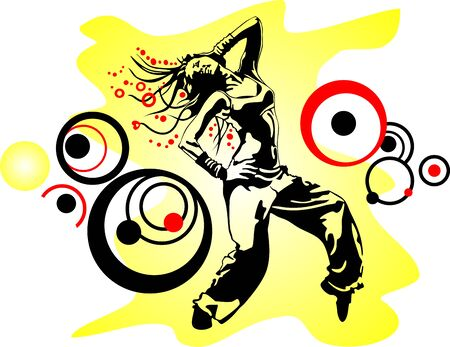 dancing girl in a tattered yellow background with circles of black and red