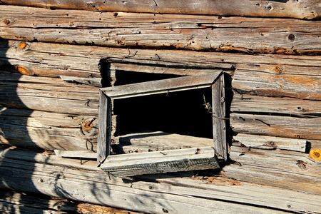 felling: Old timbered felling. A window Stock Photo