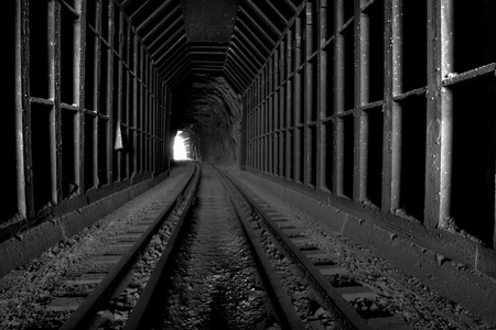 B   W Photo of a train tunnel in Gem County, Idaho USA Stock Photo - 13633680