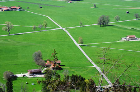 Aerial photography the crossroad in the country and green grass