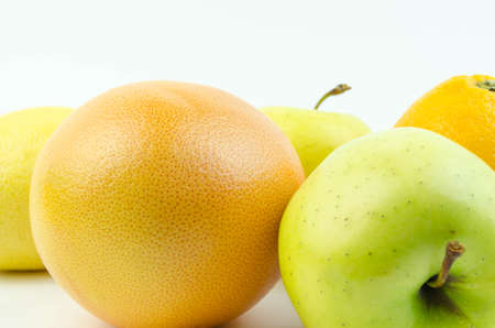 yellow  green: Fruits on a white background