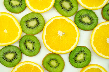 thinly: Orange, kiwi thinly sliced Stock Photo