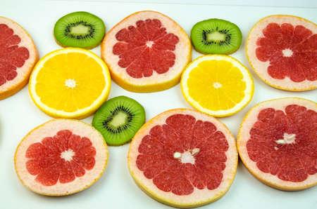 thinly: Kiwi, orange, grapefruit thinly sliced