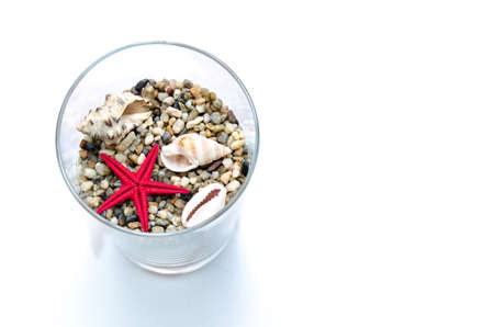 glass containers: Sea sand and shellfish in glass containers Stock Photo