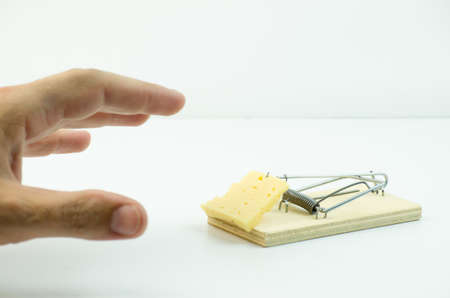 hand reaching: Hand reaching for a piece of cheese in a mousetrap Stock Photo