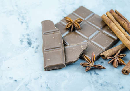 cinnamon sticks: Milk chocolate, cinnamon sticks and star anise