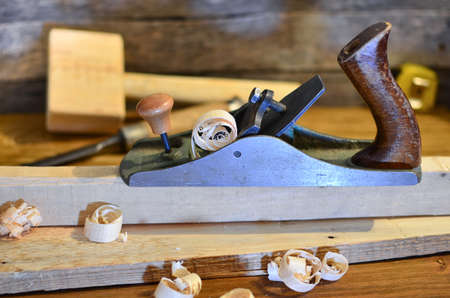 Planer carpenters tool on a workbench