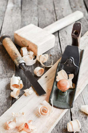 Carpentry tools on an old board table