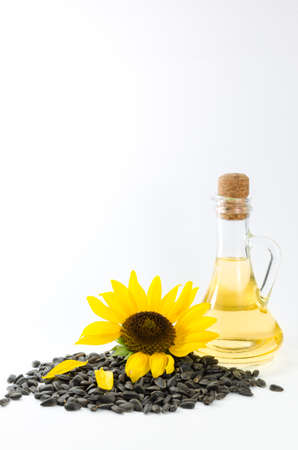 Sunflower and sunflower oil with seeds on white background Stock Photo