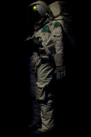 The costume of the Kazakhstan cosmonaut on a black background 版權商用圖片
