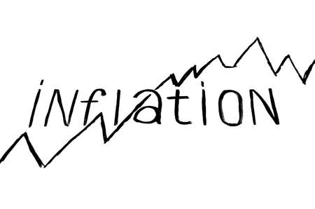 Inscription inflation with growing graph on white background Stock Photo
