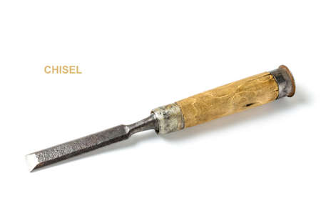Carpenters tool chisel on a white background.