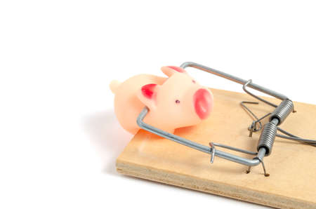 Small, pink, rubber pig got caught in a mousetrap. Standard-Bild - 120860416