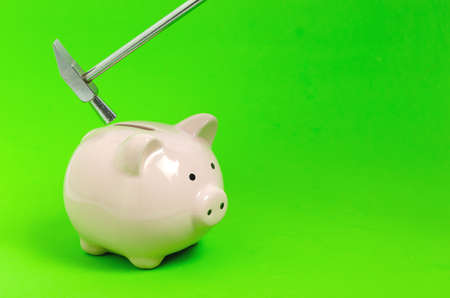 Pink piggy Bank and small hammer on green background.