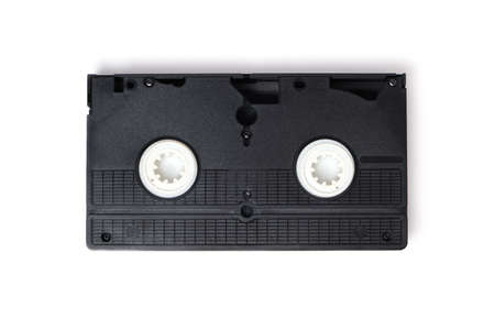 Retro videotape on white background, close-up isolate.