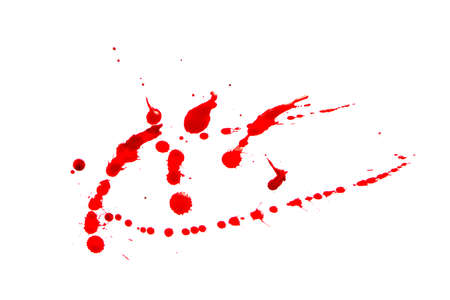 Drops of spattered blood on a white background