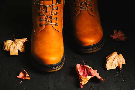 Brown autumn boots on a black background with scattered maple leaves