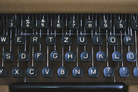Keyboard of an old retro typewriter with the English alphabet