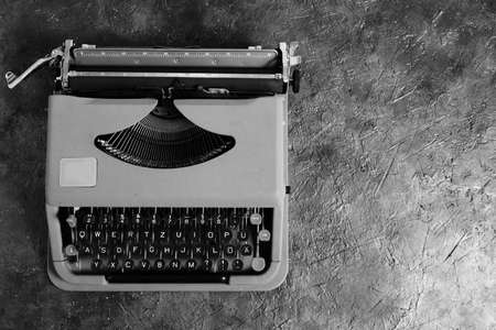Old, vintage, typewriter in black and white image. The view from the top Stok Fotoğraf