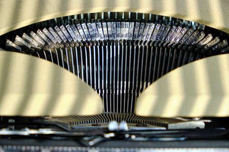Mechanism of an old typewriter. Retro vintage, steam punk
