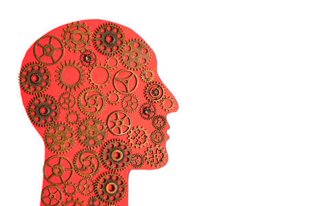 Silhouette of human head with gears inside on white background.Concept of human thinking