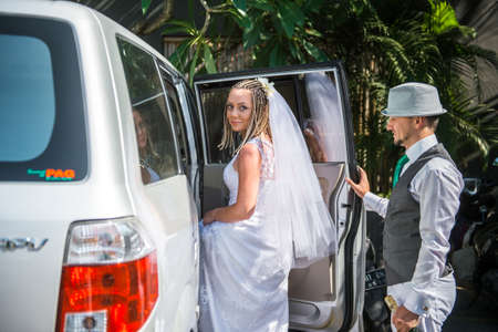looked: Bride looked back before landing in the car