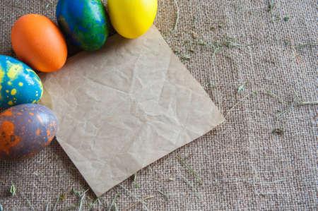 painted eggs: painted eggs kept Kraft paper