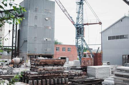 prefab: Precast concrete, Cement slab floor concrete slab stacked on the yard.