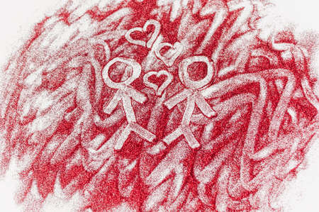 to confess love: Men drawn with hearts on red glitter on a white background