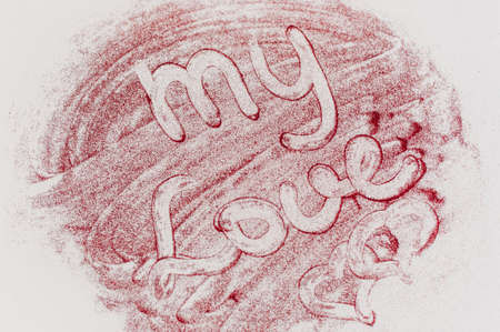 to confess love: Text My love of purple glitter sparkle on white background Stock Photo