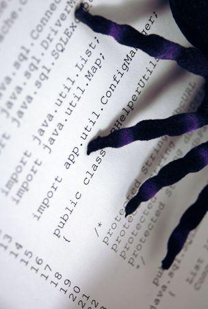 Afbeelding van spider op papier van computer-code. Geeft bugs of fouten of problemen met computerprogramma's of software. Schaduwen uit spin benen geven infectie of infiltratie in het programma.
